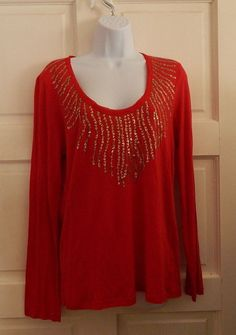 Calvin Klein Jeans nwt top shirt red sequins sz L casual long sleeves cotton #CalvinKleinJeans #tee #Casual