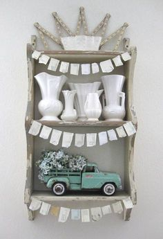 a darling little display with 'peanut' bunting - one of 8 picks for this week's Friday Favorites - Living Vintage