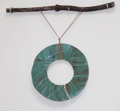 Green Ceramic DreamCatcher by Nathalie Guez (Mixed-Media Wall Sculpture) | Artful Home