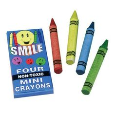 US Toy Company 295 Mini Smile Crayons - 4 - Bx, 144 - Pack by US Toy Company. $23.75. Assorted colors: Red, Yellow, Blue, and Green.. 4 Pieces per box.. U.S. Toy Exclusive.. This item is excluded from free shipping offers.. Size: 2-3/4 T.. Color a beautiful masterpiece with these crayons. Crayons are an entertaining addition to goody bags or to keep children busy on a road trip. Crayons are our top selling stationery item and a must have for arts and crafts proj...