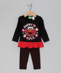 Look what I found on #zulily! Black 'Super Cute' Elmo Ruched Tunic & Leggings - Infant #zulilyfinds