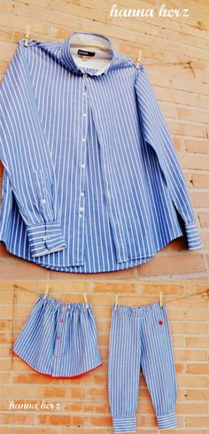 Reutiliza una antigua camisa de manga larga – Trini Bernad Reutiliza una antigua camisa de manga larga I thought this was a cute idea. I don't think I'll ever do it though. Diy Clothing, Sewing Clothes, Cut Up Jeans, Free Printable Sewing Patterns, Diy Kleidung, Diy Shorts, Blog Couture, Old Shirts, Shirt Refashion