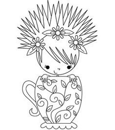 Stamping Bella Unmounted Rubber Stamp-Miranda The Teacup Girl-Jo-Ann fabrics and craft store Colouring Pages, Printable Coloring Pages, Adult Coloring Pages, Coloring Books, Embroidery Applique, Embroidery Patterns, Digi Stamps, Copics, Coloring For Kids