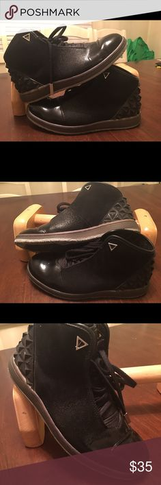Size 8 Jordan's Nice suede and patent leather Jordan's a little worn but still in great shape, will clean up easily! Jordan Shoes Sneakers