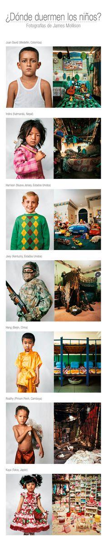 """""""En 2004, Fabrica, el centro de investigación de Benetton, me pidió que propusiera una idea para involucrarse con los derechos de los niños, y de inmediato pensé en mi cuarto, sobre lo significativo que había sido durante mi infancia y cómo reflejaba lo que tenía y quién era. Espero que este proyecto ayude a pensar en las desigualdades existentes entre las sociedades del mundo y quizá las personas empiecen a descifrar cómo, en sus propias vidas, quieran actuar frente a esto"""". James Mollison."""