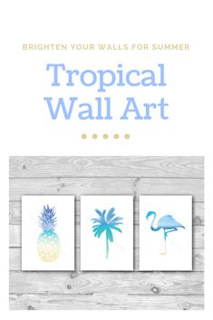 A set of 3 tropical sea prints to bring the summer into your home! This print trio features a pineapple, palm tree and flamingo in shades of blue and golden sandy yellow watercolour.