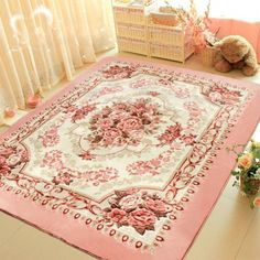 Details about Romantic Pink Rose Rug For Living Room,American Country Style Carpet Bedroom Rug. Romantic Pink Rose Rug For Living Room,American Country Style Carpet Bedroom Rug in Home Tapis Shabby Chic, Rosa Shabby Chic, Cocina Shabby Chic, Shabby Chic Mode, Shabby Chic Living Room, Shabby Chic Bedrooms, Shabby Chic Kitchen, Shabby Chic Style, Shabby Chic Furniture