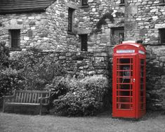 Red British Phone Booth England photography black and white old-fashioned english whimsical stone wall retro vintage london ireland. $30.00, via Etsy.