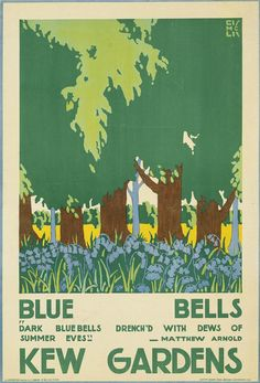 KEW GARDENS Blue Bells by Edward McKnight Kauffer (1890-1954) Kew Gardens London, London Garden, London Poster, London Art, Railway Posters, Travel Posters, Transport Posters, Dark Summer, Illustrations And Posters