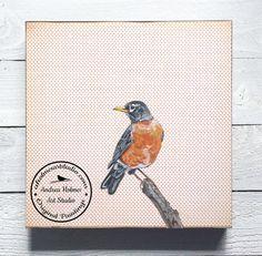 American Robin by Andrea Holmes  Original by AHolmesArtStudio