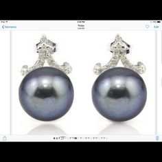 Black Pearl and Diamond Earrings‼️SALE‼️ 21.03 Carat TW Black Pearl and Genuine Diamond Platinum over 925 Sterling Silver pierced Earrings.   SRP $1057 Jewelry Earrings