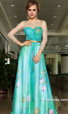 2015 Fresh Bateau Neckline Chiffon Prom Dress Floor Length http://www.ikmdresses.com/2014-Fresh-Bateau-Neckline-Chiffon-Prom-Dress-Floor-Length-p85011