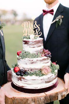 Torta de casamiento - Torta al desnudo, muy rústica!!!