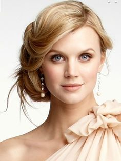 low, side updo - soft pinned bangs