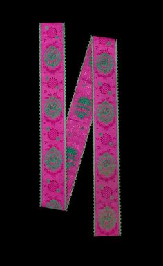 Ribbon, 1860-1869, German, silk and cotton, held by the Met, 2009.300.1680. Aniline dye was invented in 1856 and resulted in brilliant colors seen here.