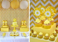 Yellow Chevron Sunshine Party Table