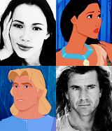 Voice actors for Pocahontas (Irene Bedard) and John Smith (Mel Gibson)