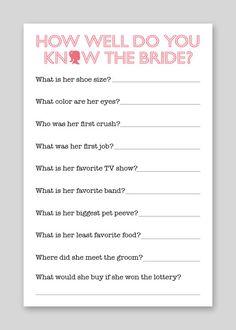 DIY Printable Shower Game - Bride Quiz. $12.00, via Etsy.