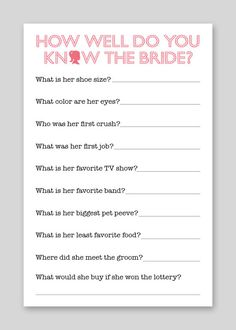 DIY Printable Shower Game - Bride Quiz. $12.00, via Etsy.