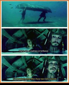"""This is either madness or brilliance. - - It's remarkable how often those two traits coincide."" Pirates of the Caribbean. 〖 Disney Pirates of the Caribbean POTC Captain Jack Sparrow William Will Turner madness brilliance funny quote 〗 Funny Quotes, Funny Memes, Hilarious, Jokes, Memes Humor, Quote Meme, Captain Jack Sparrow, Disney And Dreamworks, Disney Pixar"