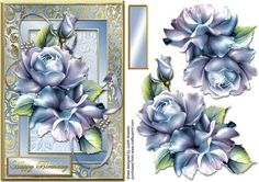 Gold Framed Porcelain Roses Card Front on Craftsuprint designed by Judith Mary Howells - Sized to fit inside an A5 card, a gorgeous spray of roses with ribbon in a gold embossed frame. A blank greeting plate and decoupage pieces are included. - Now available for download!