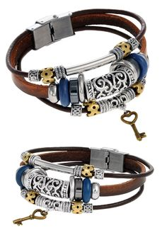 This stylish piece is bound to give even the simplest ensemble a unique, bohemian touch. Made of genuine leather and featuring a stainless steel buckle clasp, this authentic Tera Jewelry bracelet stands out from the crowd! 8.5 inches total length.