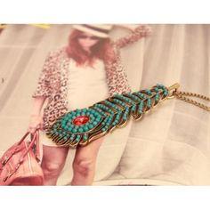 $1.69 Bohemia Peacock Big Red Gem Beads Pendant Bronze Necklace - BornPrettyStore.com