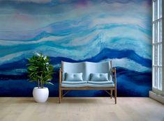 Arctic Adventure Beautiful Blue Arctic Wallpaper Mural by Melissa Renee fieryfordeepblue Art & Design seen at Creator's Studio, Helsinki | Wescover Accent Wallpaper, More Wallpaper, Creator Studio, Perfect Wallpaper, Wall Installation, Cool Tones, New Artists, Coastal Decor, Arctic