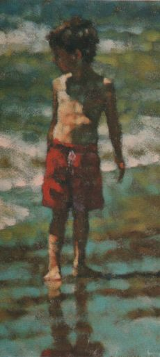 Desmond O'Hagan - Red Shorts. Scanned from my scrap files. Figure. Boy. Swimsuit.