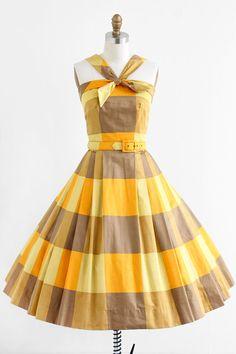 vintage 1950s dress / 50s dress / Yellow and Orange Polished Cotton Sundress
