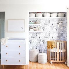 Our clothes might live in random closets throughout our house (ok, and maybe the garage too) but bringing our baby girl home to this pretty (and functional!) little nook made me so so happy. Grateful to everyone who was involved, especially our friend and super talented designer @sarahshermansamuel for working her magic and not looking at me like I was a crazy person when I came to her with the idea  #quincynoalouise (link to full room in Sarah's profile)