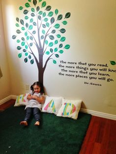 You can buy large tree decals off aliexpress. Would be cool to incorporate into reading area Kids Reading, Reading Room, Reading Tree, Classroom Displays, Classroom Decor, Classroom Libraries, Library Corner, Book Corners, Ideas Hogar