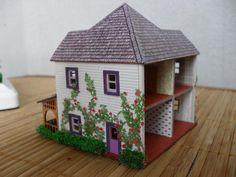White Victorian Dollhouse Property 1:144 Scale