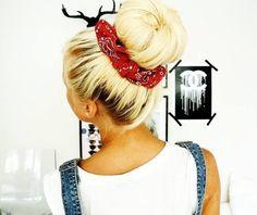 Biker bandana hairstyles image elegant 30 country hairstyles with bandanas Bandana Hairstyles, Pretty Hairstyles, Bandana Updo, Country Hairstyles, Red Bandana, Love Hair, Gorgeous Hair, How To Wear Bandana, Pelo Vintage