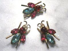 Three vintage Coro bug fly pins brooches by TreasureBoxAntiqueUS