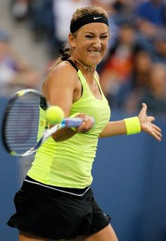 NEW YORK, NY - SEPTEMBER 09: Victoria Azarenka of Belarus returns a shot during the women's singles final match against Serena Williams of the United States on Day Fourteen of the 2012 U.S. Open at the USTA Billie Jean King National Tennis Center on September 9, 2012 in the Flushing neighborhood, of the Queens borough of New York City. (Photo by Mike Stobe/Getty Images for USTA)