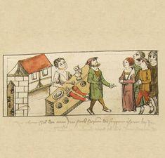 Das Volkacher Salbuch (Volkacher Chronicle) - Eine illustrierte Rechtsordnung - Vor Gericht 1504. In the stocks.