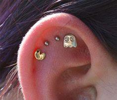 Funny pictures about Pac-Man Ear Piercing Win. Oh, and cool pics about Pac-Man Ear Piercing Win. Also, Pac-Man Ear Piercing Win photos Piercing Tattoo, Ear Peircings, Cool Ear Piercings, Tragus Piercings, Body Piercings, Daith, Flat Piercing, Different Ear Piercings, Medusa Piercing