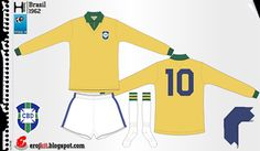 Brazil home kit (with white shorts) for the 1962 World Cup Finals.