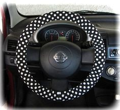 Steering wheel cover for wheel car accessories Polka dot black and white on Etsy, $12.90