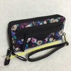 Steve Madden Large Double Zip Around Floral Wallet Wristlet Black Purple | eBay