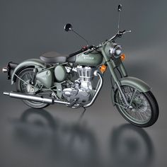 Royal Enfield Classic Battle Green Motorcycle, by Jeong-ho Kim. Maxwell 3D Resources