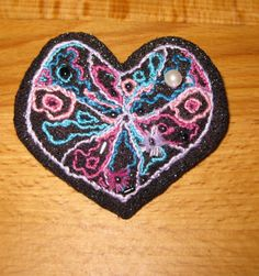 Glittery black Heart brooch for my Mate Joy