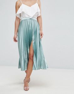 ASOS PETITE Satin Pleated Midi Skirt with Splice at asos.com 7a62cdb16