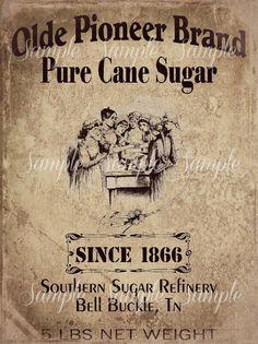 Primitive Vintage Pure Cane Sugar Jpeg Digital  Image Feedsack Logo for Pillows Pantry Labels Hang tags Magnets Ornies