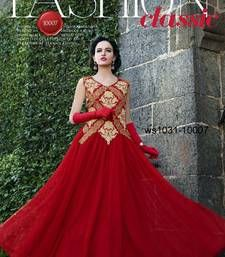 Buy Red Embroidered net semi stitched Gown party-wear-gown online