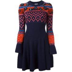Kenzo flower embellished intarsia sweater dress ($621) ❤ liked on Polyvore featuring dresses, blue, embroidery dress, blue sequin dress, flower dress, beaded dress and sweater dresses
