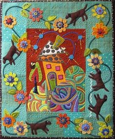 "Embroidery Folk Modern Folk Art Quilt by Tatiek Soeadi - Dogs are romping around the border of this modern feeling folk art quilt. Spied at The Stichin' Post in album ""Contemporary Folk Art Retreat'. Patchwork Quilting, Applique Quilts, Quilting Blogs, Art Quilting, Quilt Art, Wool Quilts, Quilt Modernen, Wool Embroidery, Cat Quilt"