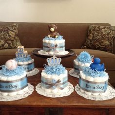 Blue Baby Shower Centerpieces bundt diaper cakes different colors and sizes available too Baby Shower Baskets, Baby Shower Deco, Baby Shower Cakes For Boys, Baby Shower Flowers, Baby Shower Diapers, Baby Shower Balloons, Baby Boy Shower, Baby Shower Gifts, Baby Showers
