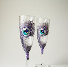 Purple Peacock Wedding Glasses Champagne Glasses by NevenaArtGlass, $52.00 #lavender #peacock #wedding_glasses #peacock_glasses